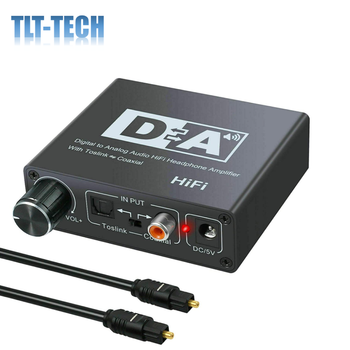 192kHz DAC Digital to Analog Converter with Volume Control, Digital Coaxial Stereo L/R RCA 3.5mm Audio Adapter w/Toslink Optical unnlink new digital to analog audio adapter 192khz dac spdif optical toslink coaxial to r l rca 3 5 jack for ps4 led tv mi box