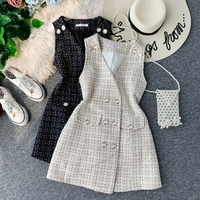 TYHRU Elegant Women Tweed V Neck Dress Sleeveless Woman Buttons Fashion Dresses