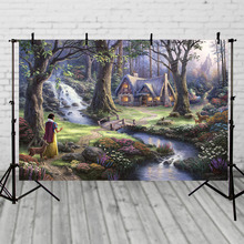 Photography studio Vinyl Photography Backdrops Fairy Tale Princesses Snow White Birthday Party Personalized Photo Background white snow forest trees photo studio photography backdrops vinyl foto background