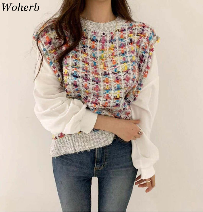 Woherb Fake 2 Piece Women Sweater Shirts Elegant Plaid Knitted Pullovers Patchwork White Puff Sleeve Blouse Korean Fashion