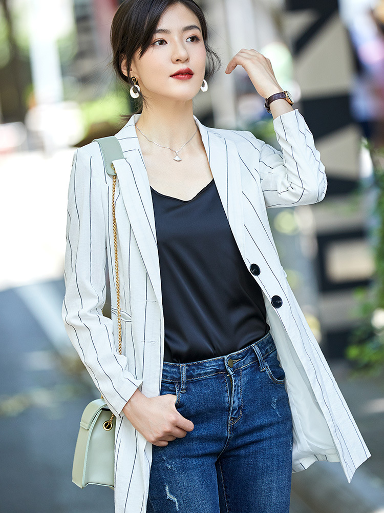 Autumn and winter ladies jacket 2019 new long section slim striped blazer Casual single-breasted long-sleeved office suit female
