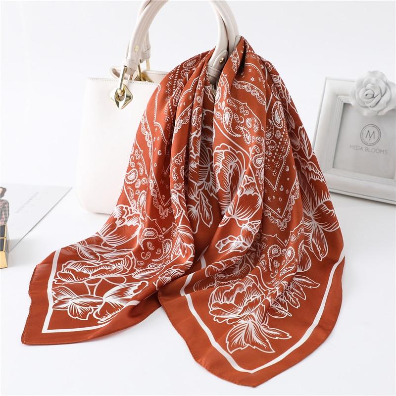 70*70cm Square Silk Neck Scarf Women Fashion Print Shawls And Wraps Foulard Hair Scarves Headband Female Bandana Kerchief