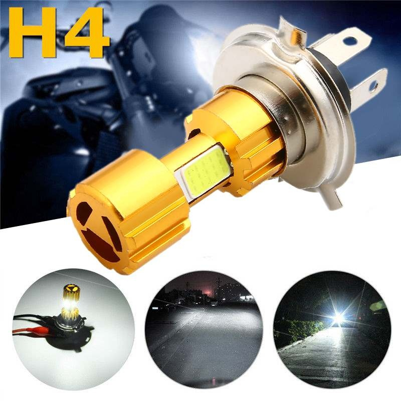Headlight H4 COB 18W LED Motorcycle Hi-Lo Beam Headlight Head Light Lamp Bulb 6500K White Motorcycle Headlight Bulbs