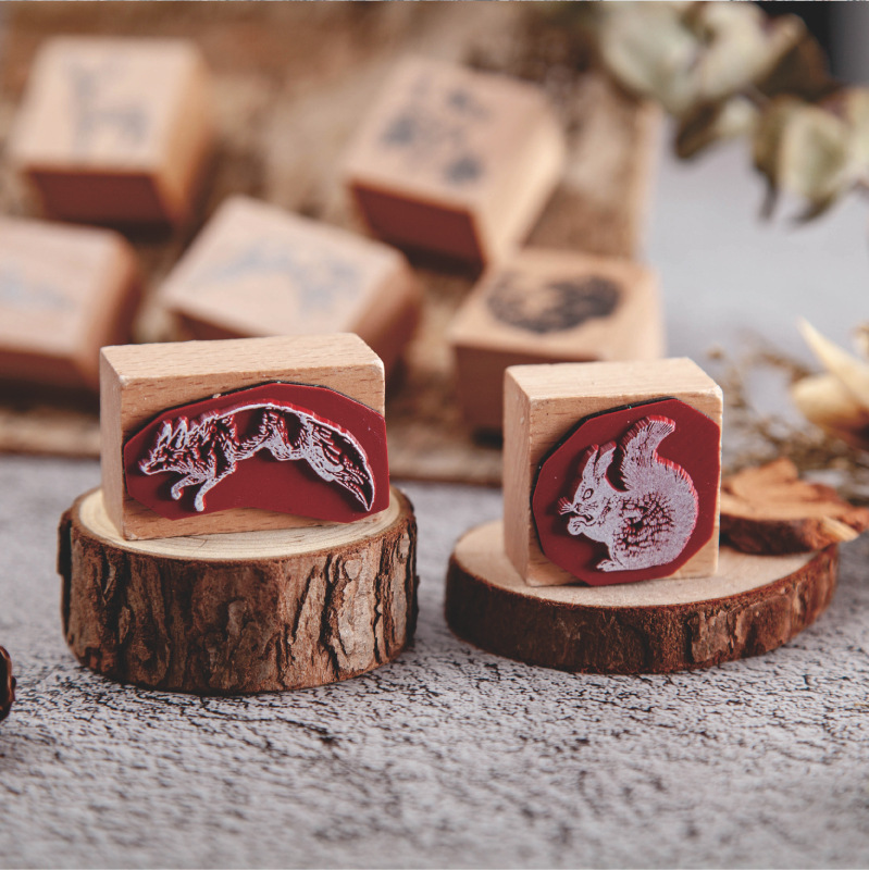 Vintage Animal Forest Post Series Log Rubber Seal Cute Cube/cuboid Stamps Wood Clear Stamps For Scrapbooking DIY Bullet Journal