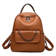 Women's shoulder bag PU women's bag leisure fashion backpack multi-functional student schoolbag bucket Zipper Softback Solid