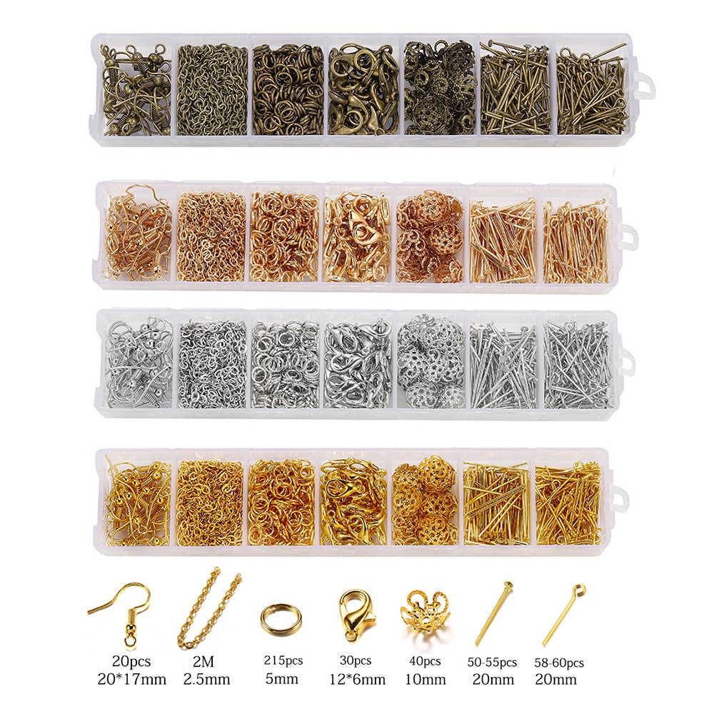 420 pièces/boîte bijoux fabrication Kits collier chaîne boucle d'oreille crochets tête broches sauter anneaux homard fermoir bijoux à bricoler soi-même résultats ensemble fournitures
