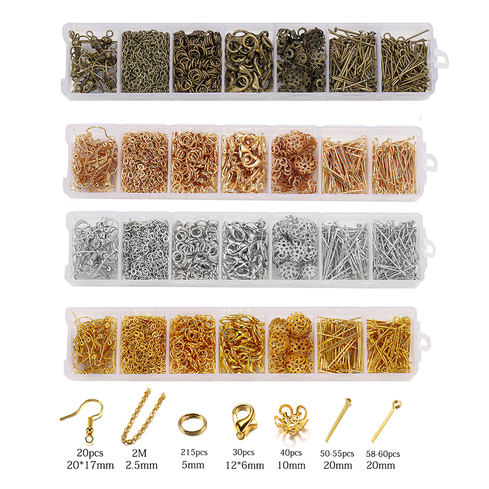 420pcs/Box Jewelry Making Kits Necklace Chain Earring Hooks Head Pins Jump Rings Lobster Clasp DIY Jewelry Findings Set Supplies