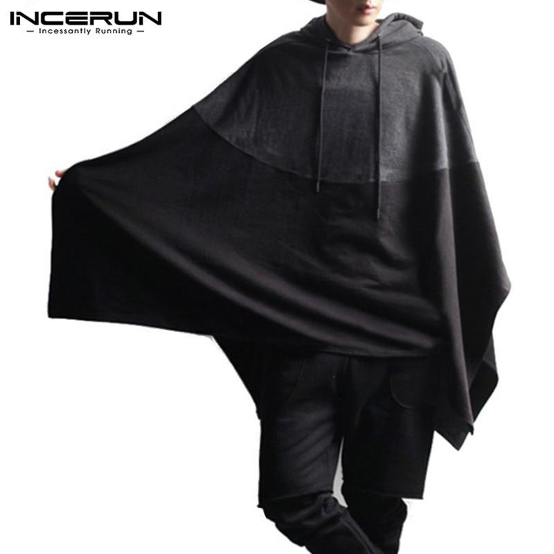 INCERUN Men Hoodies Cloak Loose Hooded Cape 2020 Sleeveless Patchwork Korean Pullovers Fashion Streetwear Men Sweatshirts M-5XL