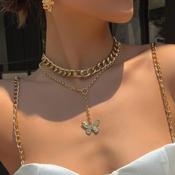 Fashion Golden Butterfly Necklace with massive chain women 90s street style Vintage Boho Necklace Pendants trend summer jewelry