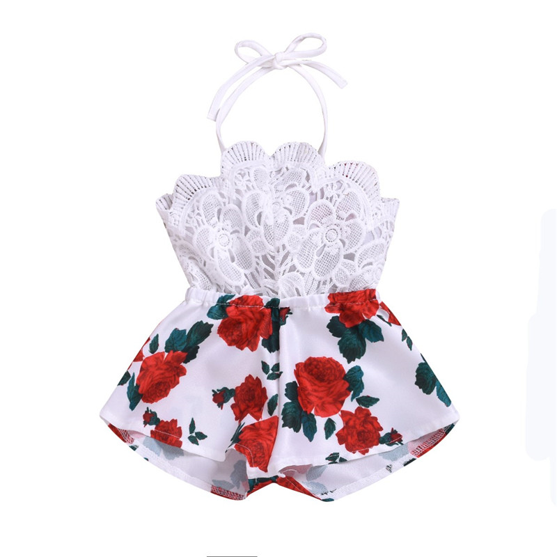 2020 Summer Newborn Baby Girl Clothes Sleeveless Lace Flower Print Strap Romper Jumpsuit One-Piece Outfit Kids Summer Clothes