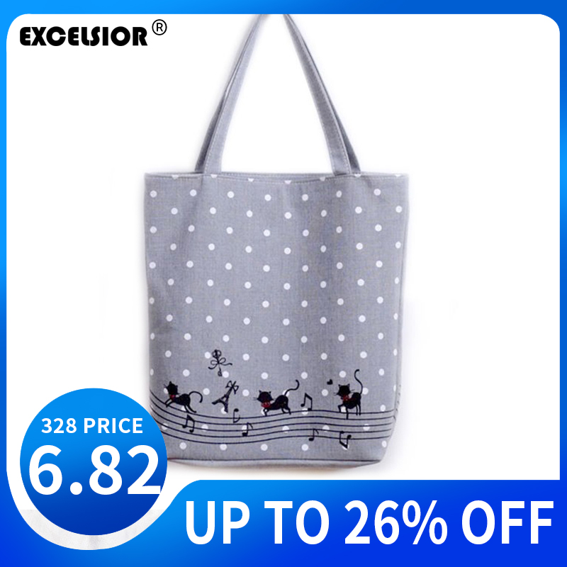 EXCELSIOR Women Shoulder Bag Canvas Handbag Music Cats Printed Large Beach Bag Bolsos Mujer De Marca Famosa 2020 Torebki Damskie