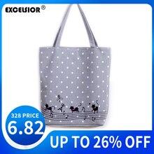 EXCELSIOR Canvas Handbag Shoulder-Bag Beach-Bag Music Printed Large Women Mujer-De-Marca