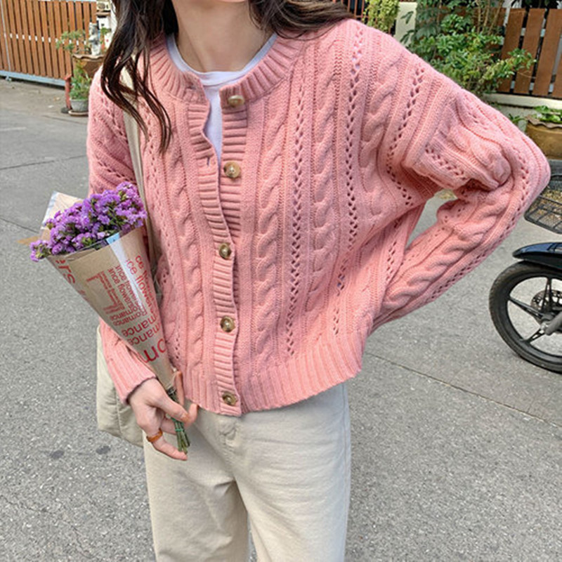 4 Colors Korean Style Women Autumn Solid Color  Thin Cardigan Sweater Coat Female Long Sleeve Outwear Knitted Tops (X1258)