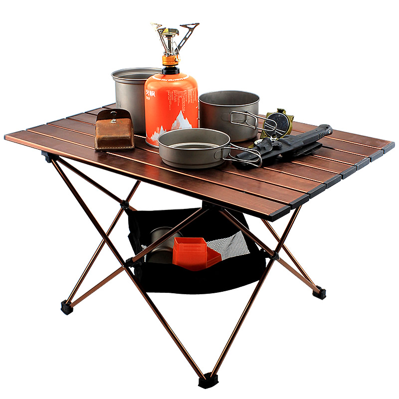 Aluminum Alloy Folding Camp Table Roll-Top Lightweight Portable Stable Versatile  Camping Table Folding Table