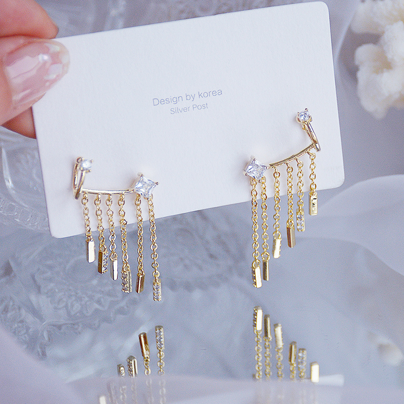 2021 Trend 14K Real Gold Plated Crystal Tassel Earrings for Women Temperament Jewelry AAA Zirconia S925 Silver Needle Stud Gift