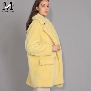 Image 2 - Maomaomaofur lã real casaco de pelúcia feminino nova moda casaco de pele de ovelha real feminino quente oversize inverno outerwear lã roupas