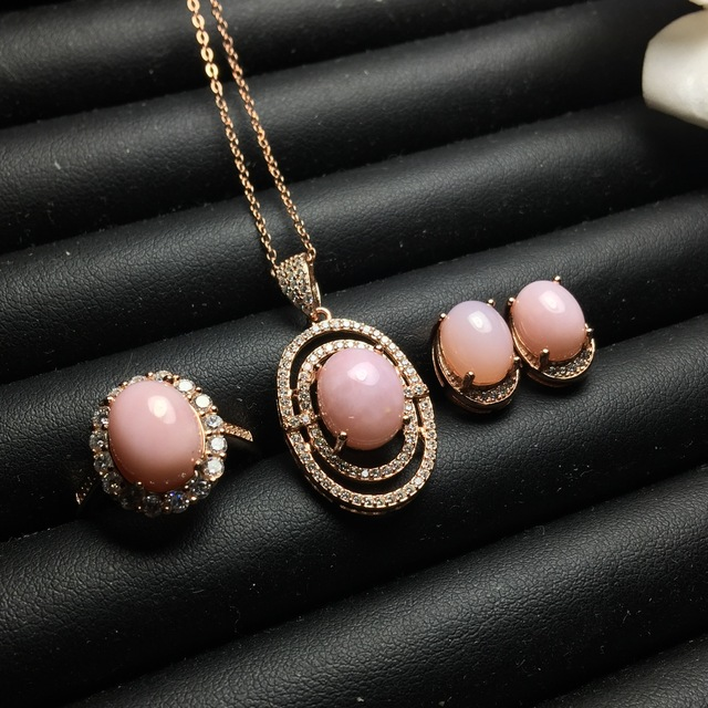 MeiBaPJ Natural Pink Opal Gemstone Earrings Ring and Necklace 3 Suit for Women Real 925 Sterling Silver Fine Wedding Jewelry Set