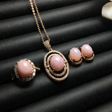 Meibapj Natuurlijke Roze Opaal Edelsteen Oorbellen Ring En Ketting 3 Pak Voor Vrouwen Echt 925 Sterling Zilveren Fijne Bruiloft Sieraden set