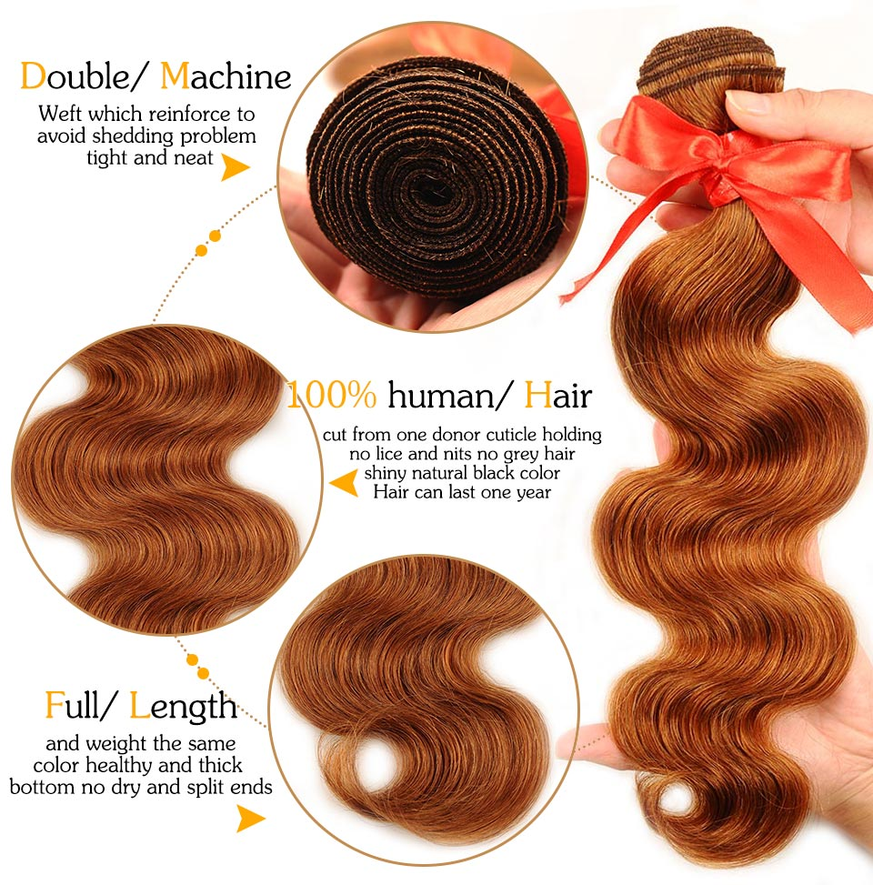 Pinshair Hair Colored 30 Honey Blonde Bundles With Closure Body Wave Peruvian Human Hair 3 Bundles With Closure Non Remy No Shed (31)