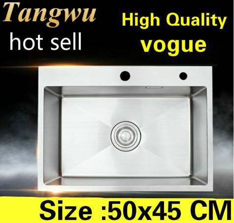 Free Shipping Apartment Small Kitchen Manual Sink Single Trough Vogue Standard 304 Stainless Steel Hot Sell 50x45 CM