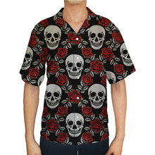 купить 2019 Mens Fashion Short Sleeved Button up Polyester Skull Print Casual Shirt дешево