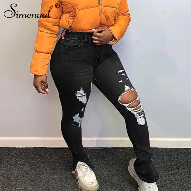 Simenual Skinny High Waist Denim Ripped Distressed Jeans Women Fashion Autumn Streetwear Pencil Pants Cut Out Pocket Trousers 5