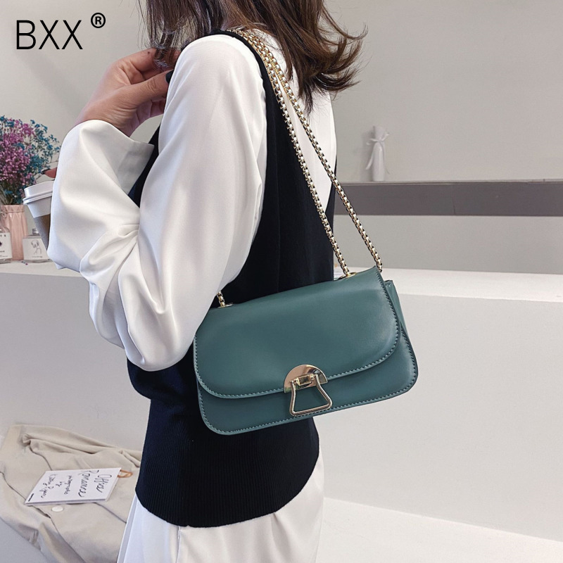 [BXX] Solid Color PU Leather Crossbody Bags For Women 2020 Spring Mini Shoulder Messenger Bag Simple Ladies Travel Handbag HK764