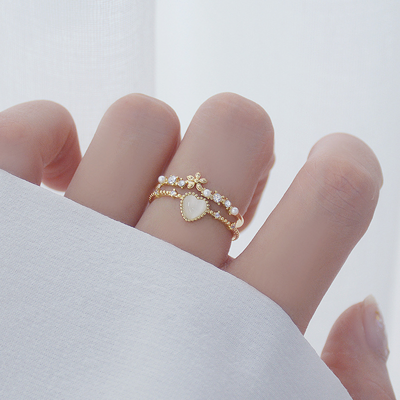 Korean hot fashion jewelry exquisite copper inlaid zircon heart-shaped opal ring elegant double layer women's flower daily ring