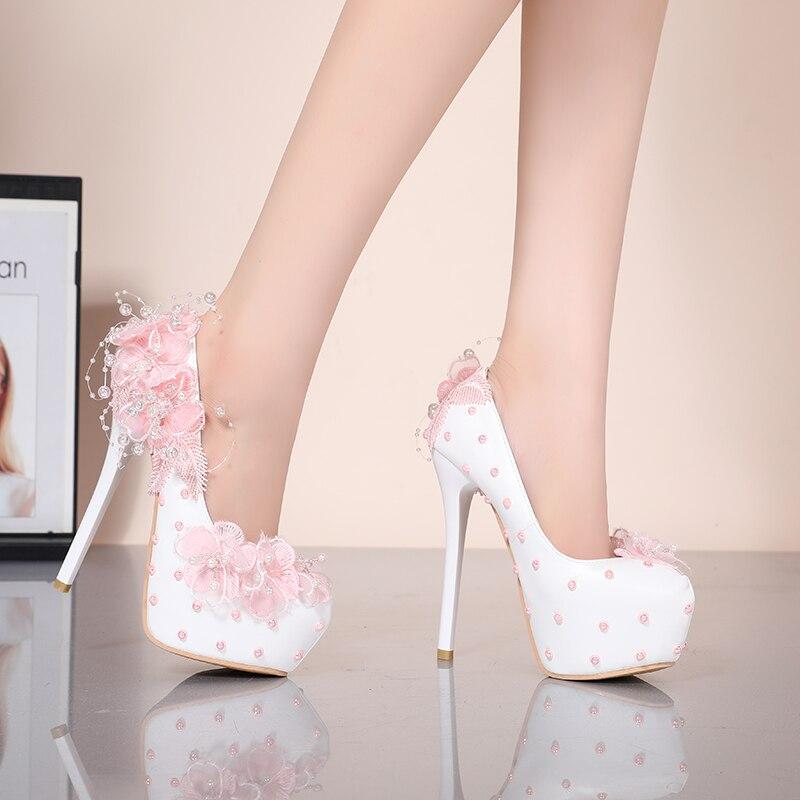 Zapatos de boda YIHONGMEIQI de tacón alto con plataforma impermeable, zapatos de novia de tacón de aguja de 14 cm con flores de encaje, color blanco rosa, talla 42 Zapatos de fiesta rojos, negros, amarillos, para mujer, Gladiador Stiletto sandalias de, tacones altos sexis con cordones cruzados, sandalias de verano para mujer