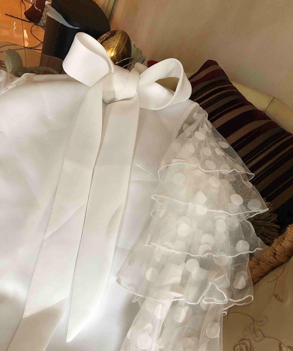 Plus grande taille élégante fête Orange blanc Mini robes Vintage femmes arc à pois maille à volants à manches longues robe courte dames - 6