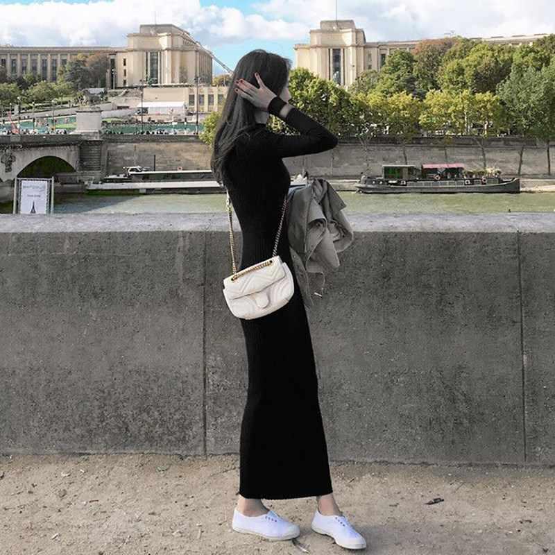 Musim Gugur Musim Dingin Slim Sweter Gaun Lengan Panjang Rajutan Wanita Korea Panjang Maxi Gaun Kasual Warna Solid Vestidos