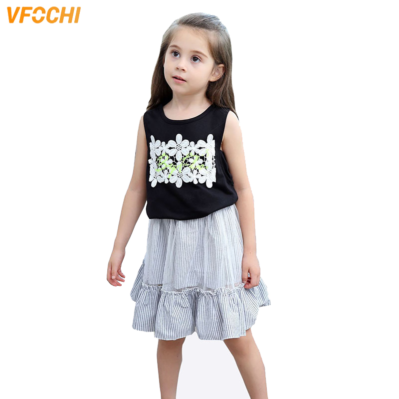VFOCHI New Girls Clothing Sets Summer Girls Sleeveless Vest T Shirt Skirt Set Floral Print Kids Clothes 2Pcs Girls Clothes Set in Clothing Sets from Mother Kids