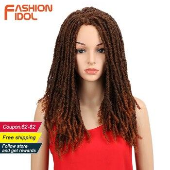 FASHION IDOL 22 Inch Synthetic Wigs For Black Women Crochet Braids Twist Jumbo Dread Faux Locs Hairstyle Long Afro Brown Hair