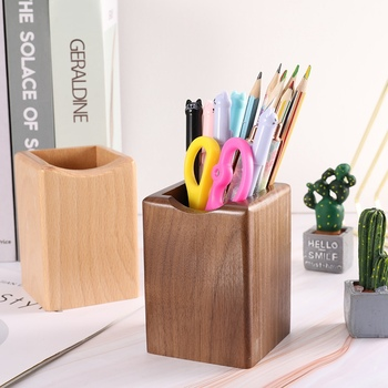 1 Pcs Pen Holder Multi-function Square Walnut Wood Makeup Brush Storage Case Creative Simple Office School Desktop Storage фото
