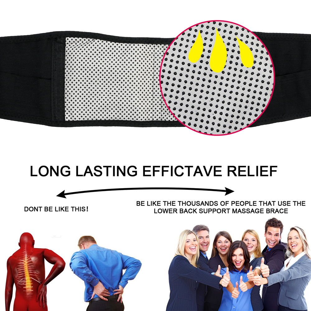 * Tcare Adjustable Waist Tourmaline Self heating Magnetic Therapy Back Waist Support Belt Lumbar Brace Massage Band Health Care 3