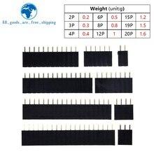 10 Uds. De pines de una hilera para Arduino, conector hembra de 2,54mm, 1*2P, 3P, 4P, 6P, 8P, 12P, 15P, 20P, 40P
