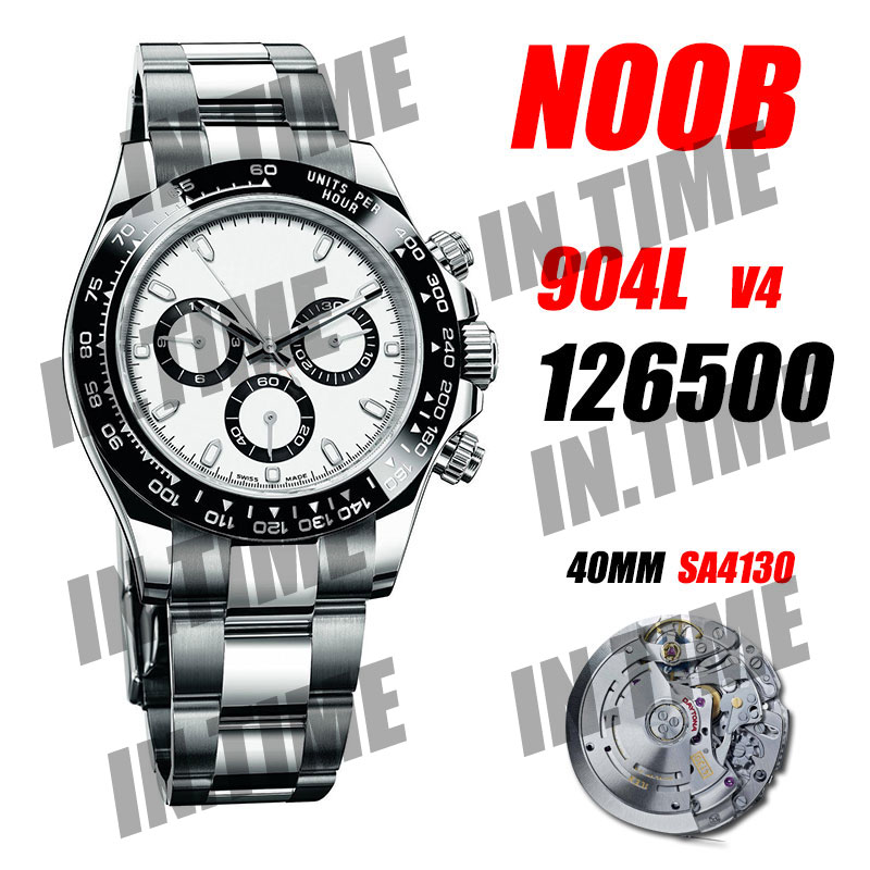Мужские механические часы Daytona 116500 Noob 1:1 лучшее издание 904L чехол/браслет Panda SA4130 V4 хронограф 12,5 мм Watch01