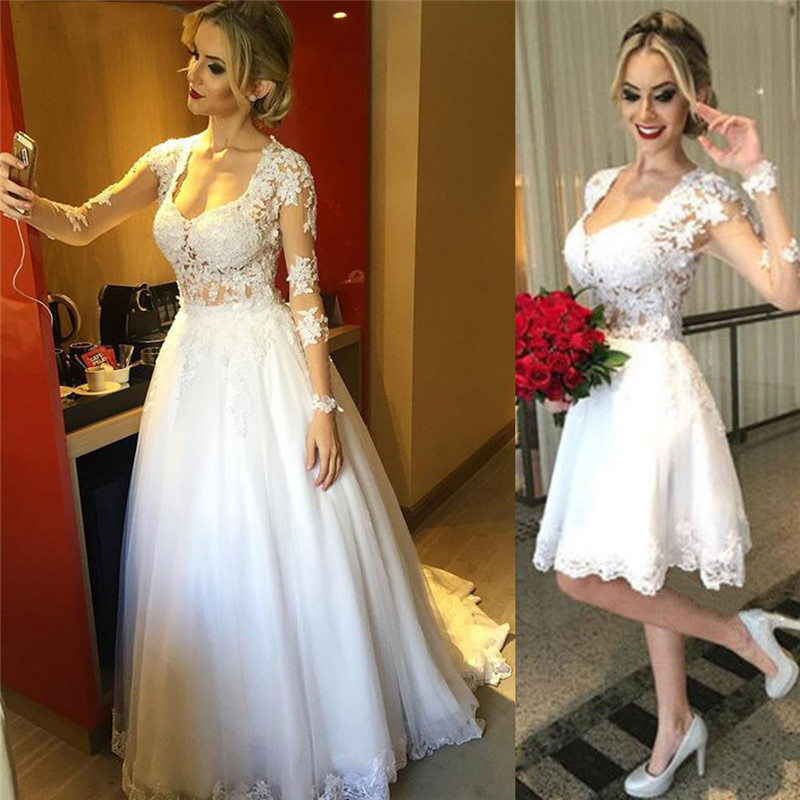 Long Sleeve Lace Wedding Dress 2 In 1 Detachable Skirt Wedding Gown Back Illusion Princess Bridal Dresses 2019 Vestido De N