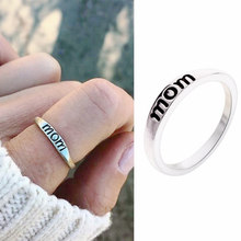 2019 new Vintage 1pcs Fashion Engraved MOM Letter Women alloy Ring Size6-10 Mother's Day Gifts(China)