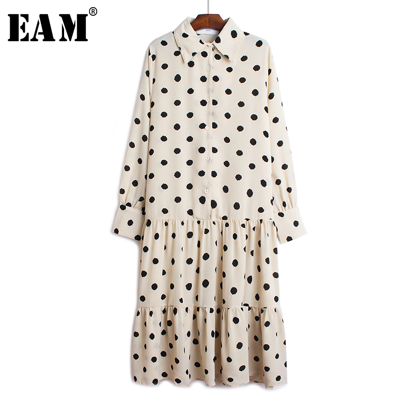 [EAM] Women Dot Print Button Pleated Chiffon Dress New Lapel Neck Long Sleeve Loose Fit Fashion Tide Spring Autumn 2020 1B024