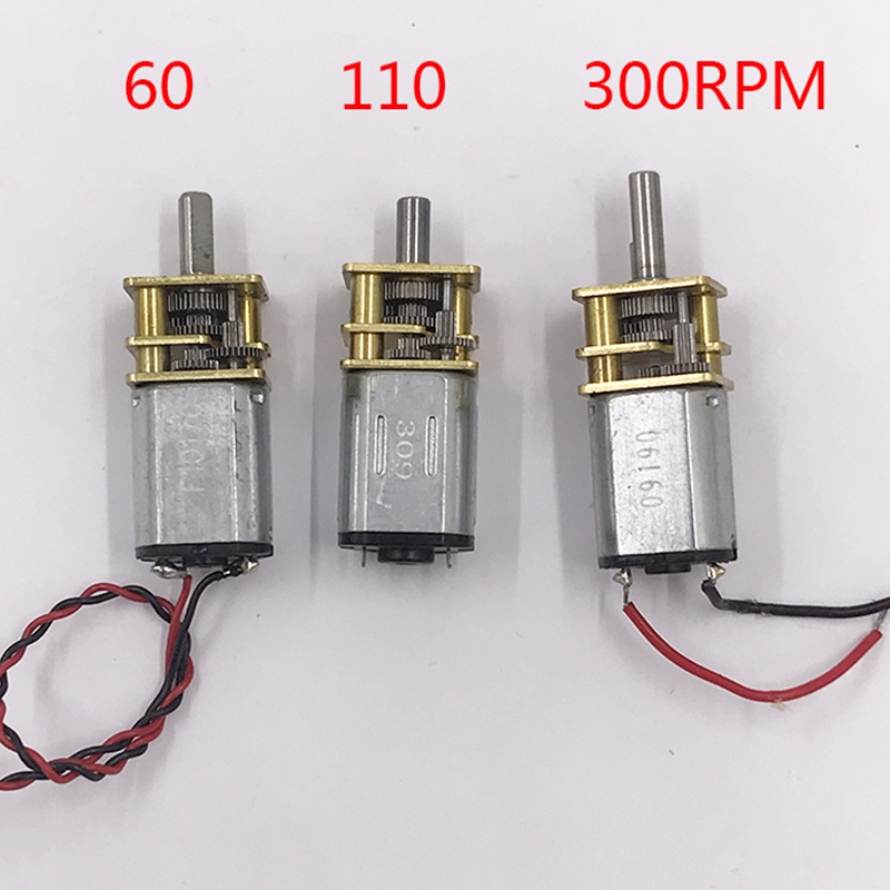DC 3V -6V 5V 60RPM 110RPM 300RPM Slow Speed Micro Mini N20 Full Metal Gearbox Gear Reducer Motor DIY Robot Smart Car