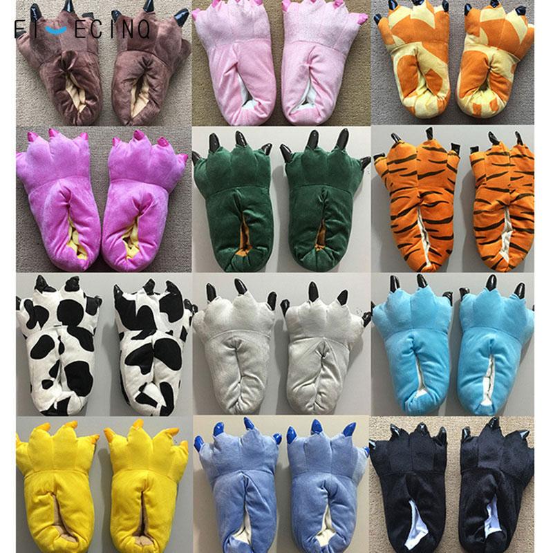 Kigurumis Animal Slippers Claw Feet Shoes Adult & Children Size Match Pajama Cartoon Unicorn Dinosaur Paw Funny Cool Winter Wear