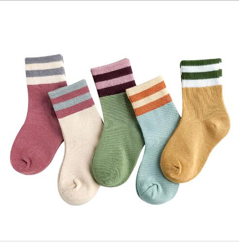 1-12 YearAutumn And Winter New Boys And Girls Cotton Socks Wide Stripe Kids Socks
