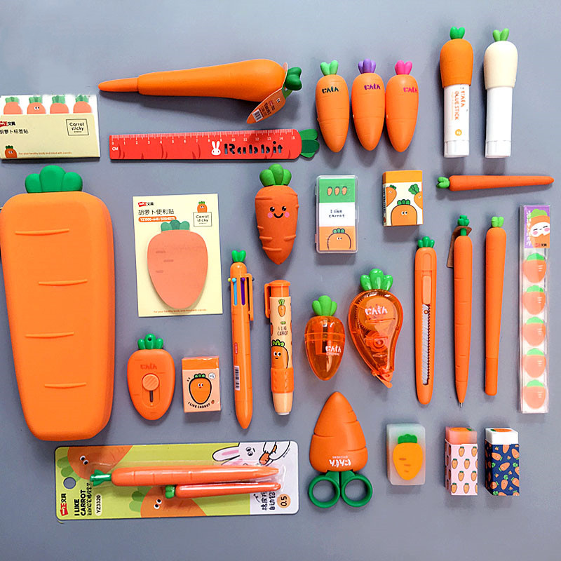 2020 Sharkbang Creative Carrot Series Silicone Soft Pencil Case Penholder Organizer Bag Kawaii Stationery Set Kids Birthday Gift