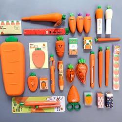 2020 Sharkbang creativo zanahoria serie silicona estuche para lápices suave Penholder organizador bolsa Kawaii papelería Set niños regalo de cumpleaños