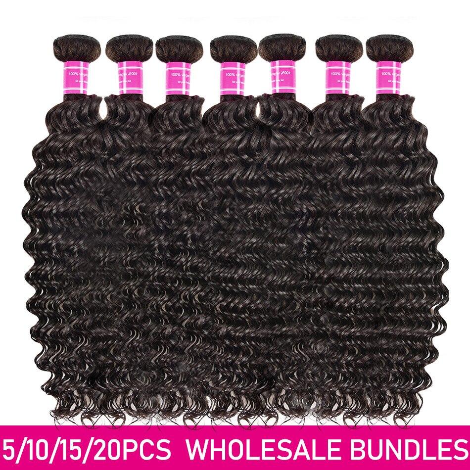 Miss Cara-extensiones de cabello humano 10A, ondas profundas indias, precio al por mayor, 3, 6, 10 lotes, doble trama