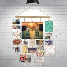 Уникальный дизайн настенные украшения деревянное подвесное фото подвесная рама цепь с хрустальными подвесками включает в себя 20 фото зажимов
