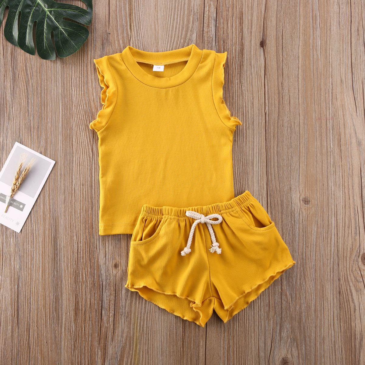 Pudcoco Newborn Baby Girl Clothes Summer Sleeveless Ruffle Tops Short Pants 2Pcs Outfits Knitted Cotton Clothes Sunsuit