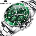 Мужские часы MEGALITH  брендовые Роскошные Кварцевые часы со стальным ремешком  многофункциональные наручные часы Relógio Masculino  2019