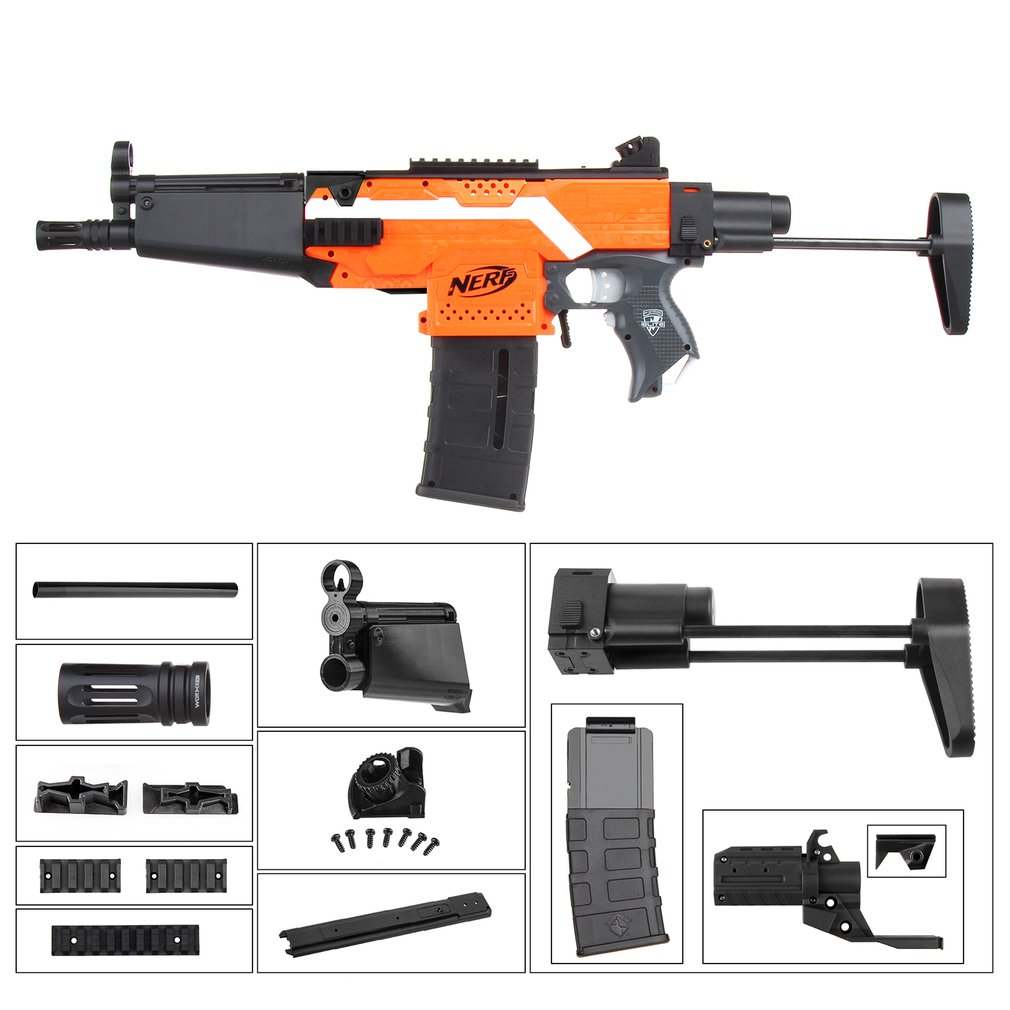 Travailleur STF-W006-01 MP5-A Style Mod Kits Noirs Adaptateur pour Nerf N-strike Elite Stryfe Blaster
